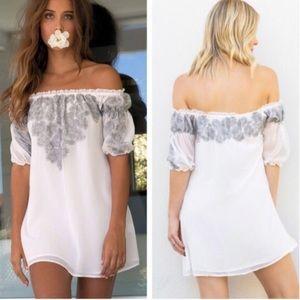 For Love and Lemons Ivory Sicily Mini Dress NWT
